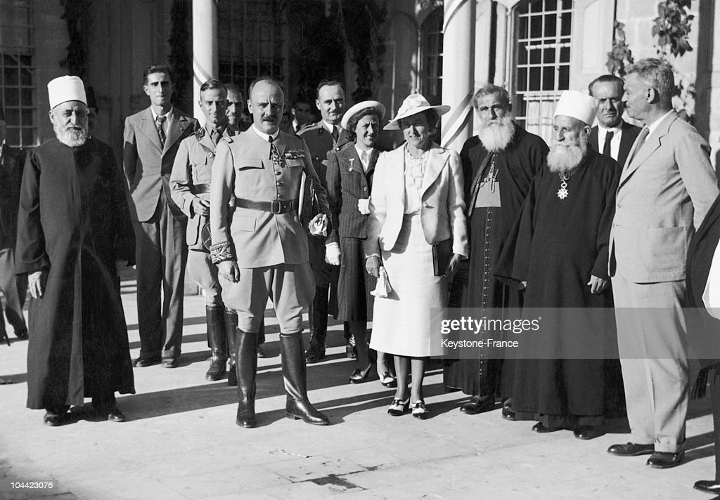 Gabriel Puaux The French HighCommissioner In Lebanon With The Druze And Maronite Religious Leaders In Lebanon On October 24 1939