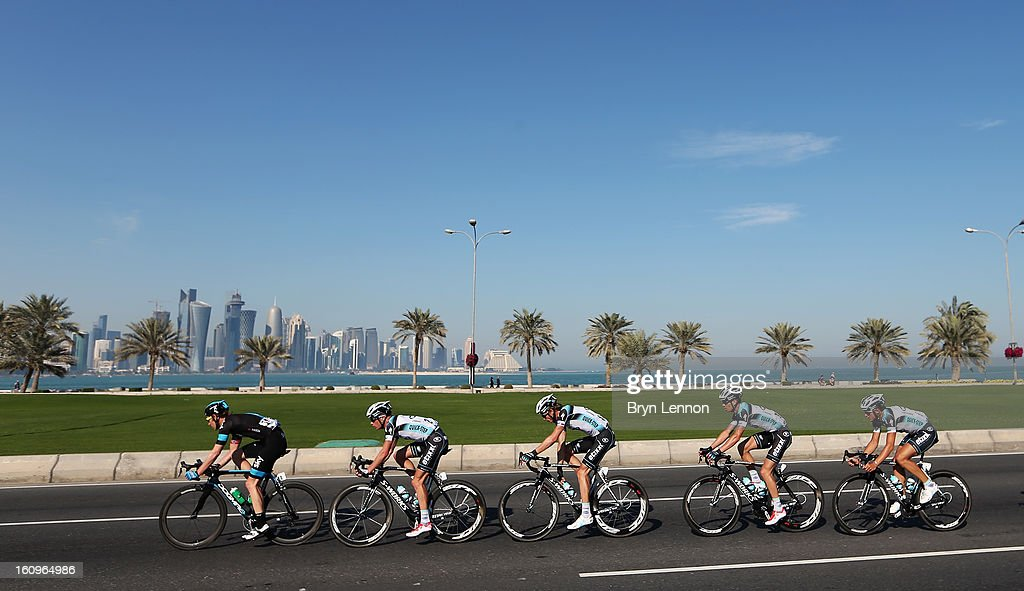 Gabriel Rasch of Norway and SKY Procycling leads the peloton during stage six of the 2013 Tour of Qatar from Sealine Beach Resort to Doha Corniche on February 8, 2013 in Doha, Qatar.