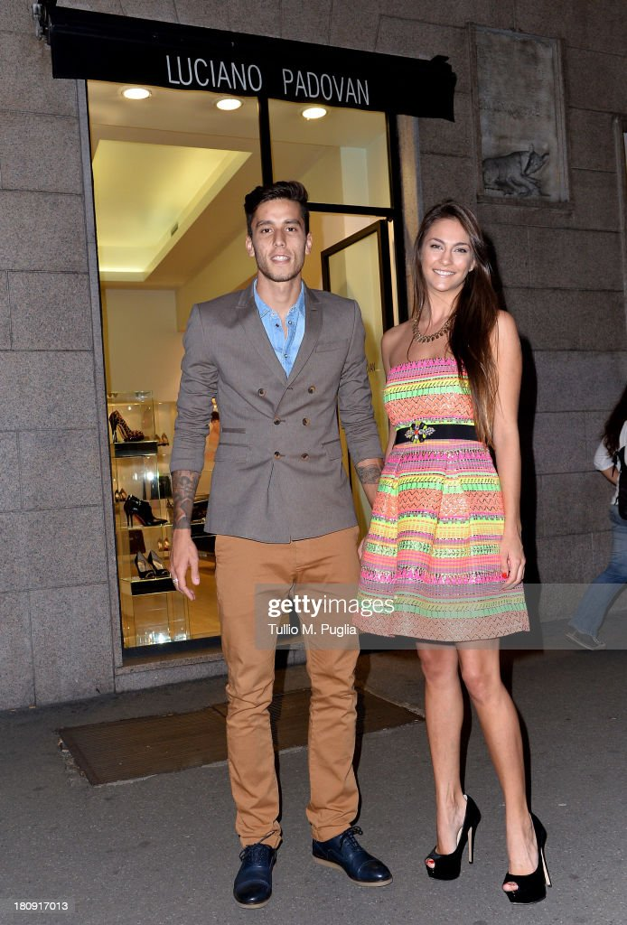Gabriel Ricardo Alvarez (L) and Mariana Palleiro are seen at Luciano Padovan Store during The Milan Vogue Fashion Night Out on September 17, 2013 in Milan, Italy.