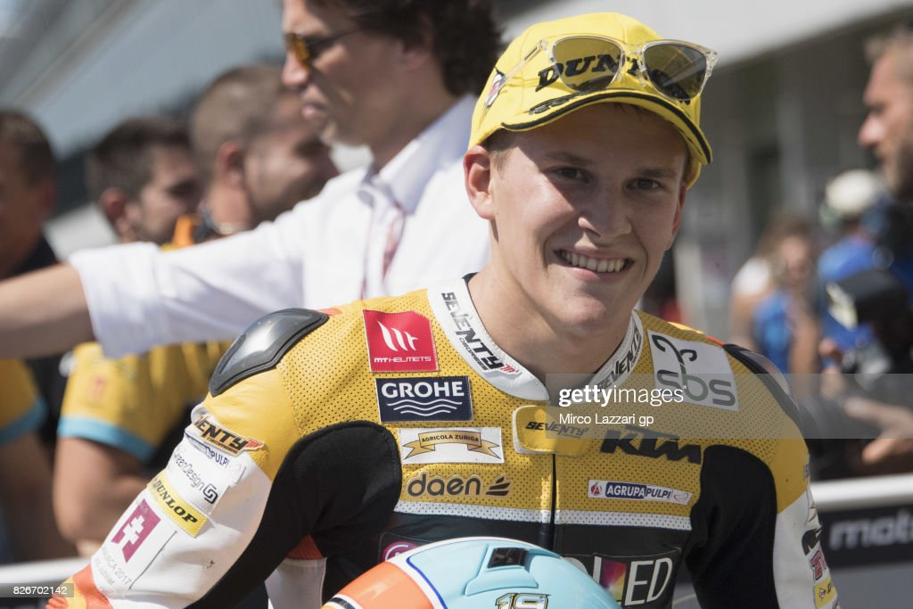Gabriel Rodrigo of Argentina and RBA BOE Racing Team celebrates the pole position at the end of the qualifying practice during the MotoGp of Czech Republic - Qualifying at Brno Circuit on August 5, 2017 in Brno, Czech Republic.