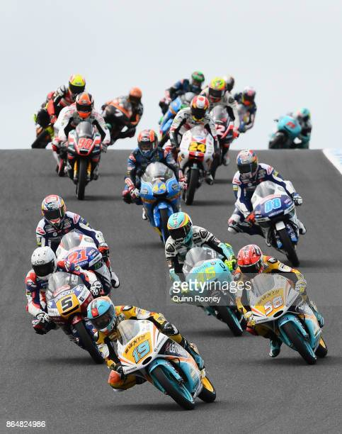 Gabriel Rodrigo of Argentina and the RBA BOE Racing Team leads the field in the Moto2 race during the 2017 MotoGP of Australia at Phillip Island...