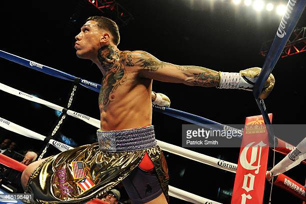 Gabriel Rosado prepares to fight Jermell Charlo in their WBC Continental Americas Title match at the DC Armory on January 25 2014 in Washington DC