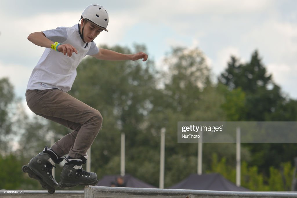 Gabriel Rozwadowski during the final of Rollerblading competition, on the final day of Carpatia Extreme Festival 2017, in Rzeszow. On Sunday, July 16, 2017, in Rzeszow, Poland.