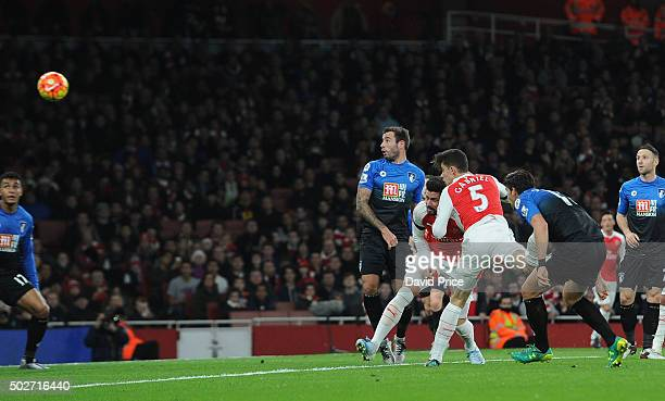 Gabriel scores Arsenal's 1st goal during the Barclays Premier League match between Arsenal and Bournemouth at Emirates Stadium on December 28 2015 in...