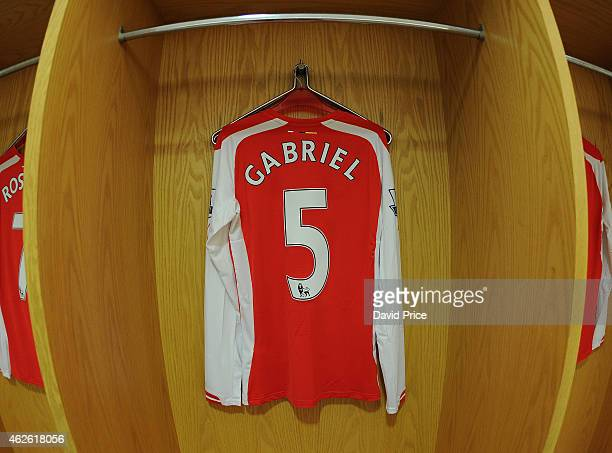 Gabriel shirt hangs the the changing room before the Barclays Premier League match between Arsenal and Aston Villa at Emirates Stadium on February 1...