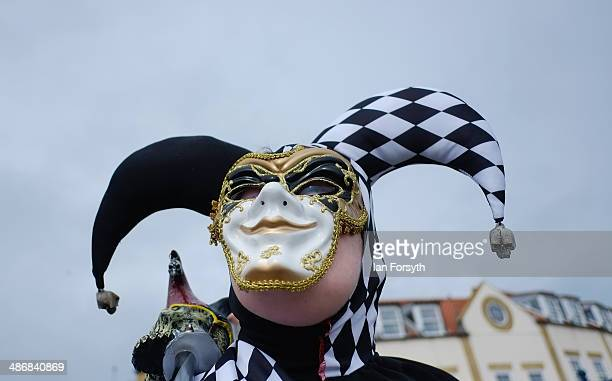 Gabriel Simpson from York dresses as a Jester during the Goth weekend on April 26 2014 in Whitby England The Whitby Goth weekend began in 1994 and...
