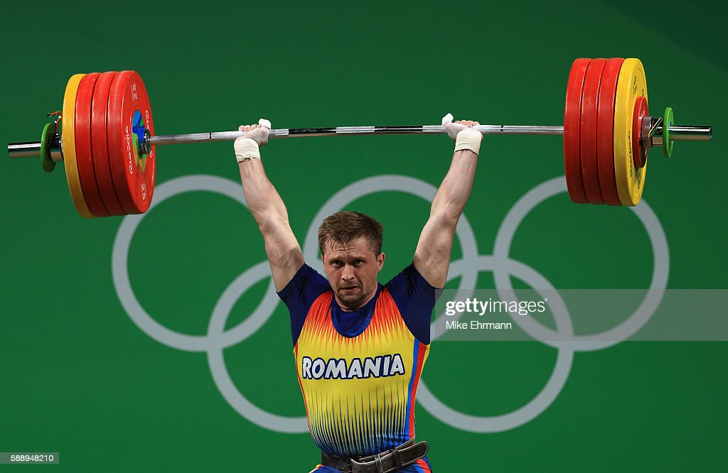 Gabriel Sincraian of Roumania during the Weightlifting Men's 85kg on Day 7 of the Rio 2016 Olympic Games at Riocentro Pavilion 2 on August 12 2016 in...