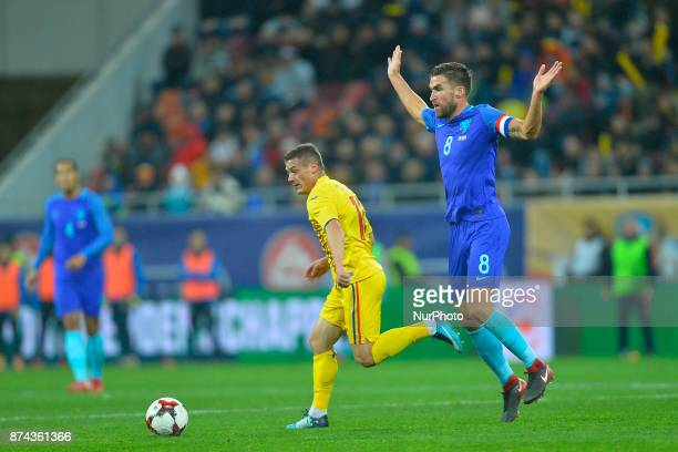 Gabriel Torje v Kevin Strootman during International Friendly match between Romania and Netherlands at National Arena Stadium in Bucharest Romania on...