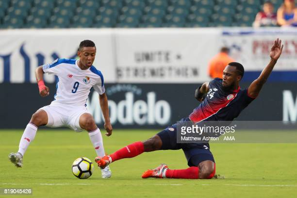 Gabriel Torres of Panama and Kendall Watson of Costa Rica during the 2017 CONCACAF Gold Cup Group C match between Curacao and Jamaica at Qualcomm...