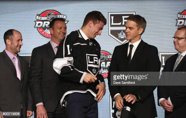 Gabriel Vilardi 11th overall pick of the Los Angeles Kings laughs onstage with president of hockey operations Luc Robitaille during Round One of the...