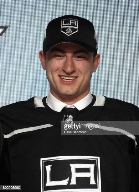 Gabriel Vilardi 11th overall pick of the Los Angeles Kings poses for a photo onstage during Round One of the 2017 NHL Draft at United Center on June...