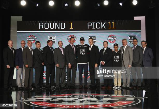 Gabriel Vilardi 11th overall pick of the Los Angeles Kings poses for a photo with the Los Angeles Kings draft team during Round One of the 2017 NHL...
