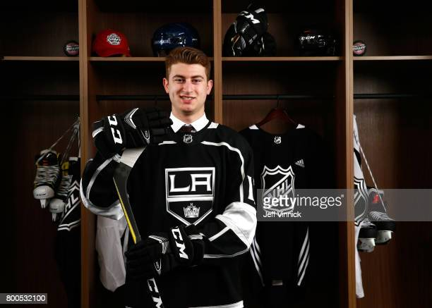Gabriel Vilardi 11th overall pick of the Los Angeles Kings poses for a portrait during Round One of the 2017 NHL Draft at United Center on June 23...
