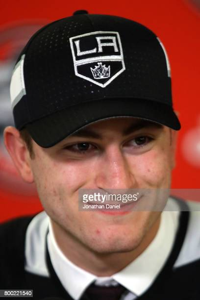 Gabriel Vilardi is interviewed after being selected 11th overall by the Los Angeles Kings during the 2017 NHL Draft at the United Center on June 23...