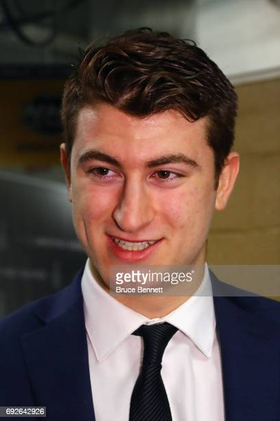 Gabriel Vilardi is interviewed during media availability for 2017 NHL draft prospects prior to Game Four of the 2017 NHL Stanley Cup Final at the...
