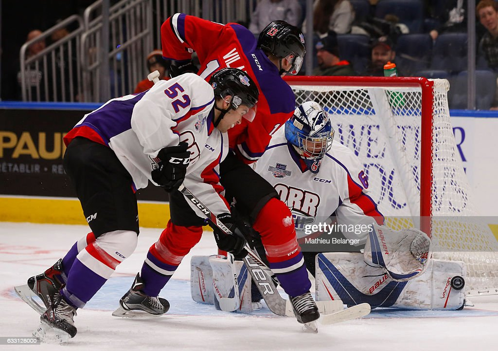 Gabriel Vilardi #13 of Team Cherry makes shot on Michael DiPietro #64 of Team Orr during the third period of their Sherwin-Williams CHL/NHL Top Prospects Game at the Videotron Center on January 30, 2017 in Quebec City, Quebec, Canada.