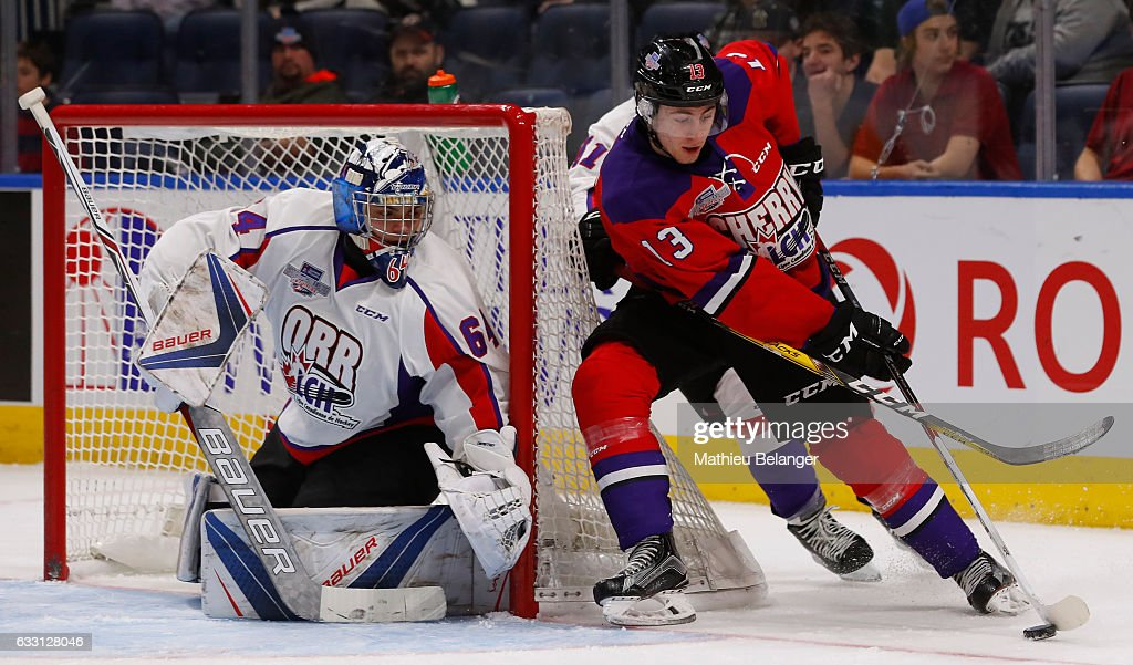 Gabriel Vilardi #13 of Team Cherry skates around the net against Team Orr during the third period of their Sherwin-Williams CHL/NHL Top Prospects Game at the Videotron Center on January 30, 2017 in Quebec City, Quebec, Canada.
