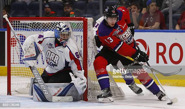 Gabriel Vilardi of Team Cherry skates around the net against Team Orr during the third period of their SherwinWilliams CHL/NHL Top Prospects Game at...