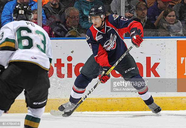 Gabriel Vilardi of the Windsor Spitfires controls the puck against the London Knights during an OHL game at Budweiser Gardens on October 14 2016 in...
