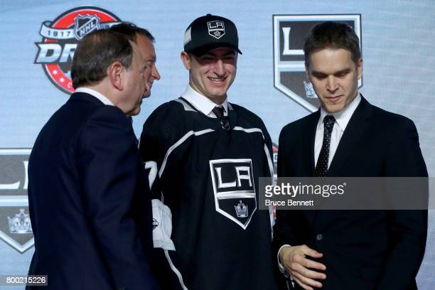 Gabriel Vilardi poses for photos after being selected 11th overall by the Los Angeles Kings during the 2017 NHL Draft at the United Center on June 23...