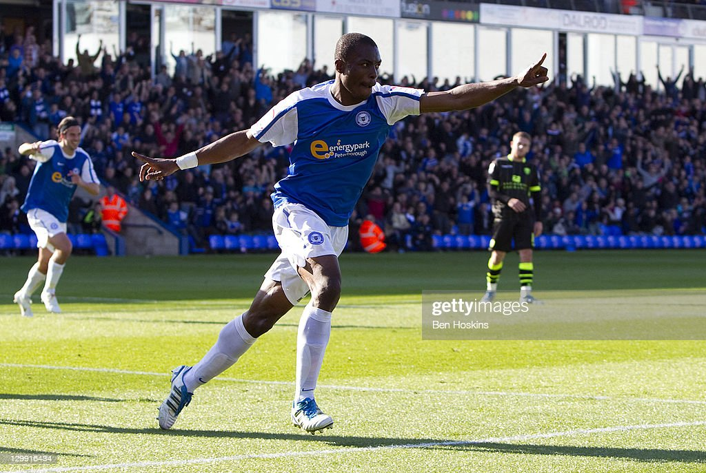 <a gi-track='captionPersonalityLinkClicked' href=/galleries/search?phrase=Gabriel+Zakuani&family=editorial&specificpeople=639100 ng-click='$event.stopPropagation()'>Gabriel Zakuani</a> of Peterborough celebrates after scoring his team's first goal of the game during the npower Championship match between Peterborough United and Leeds United at The London Road Stadium on October 22, 2011 in Peterborough, England.