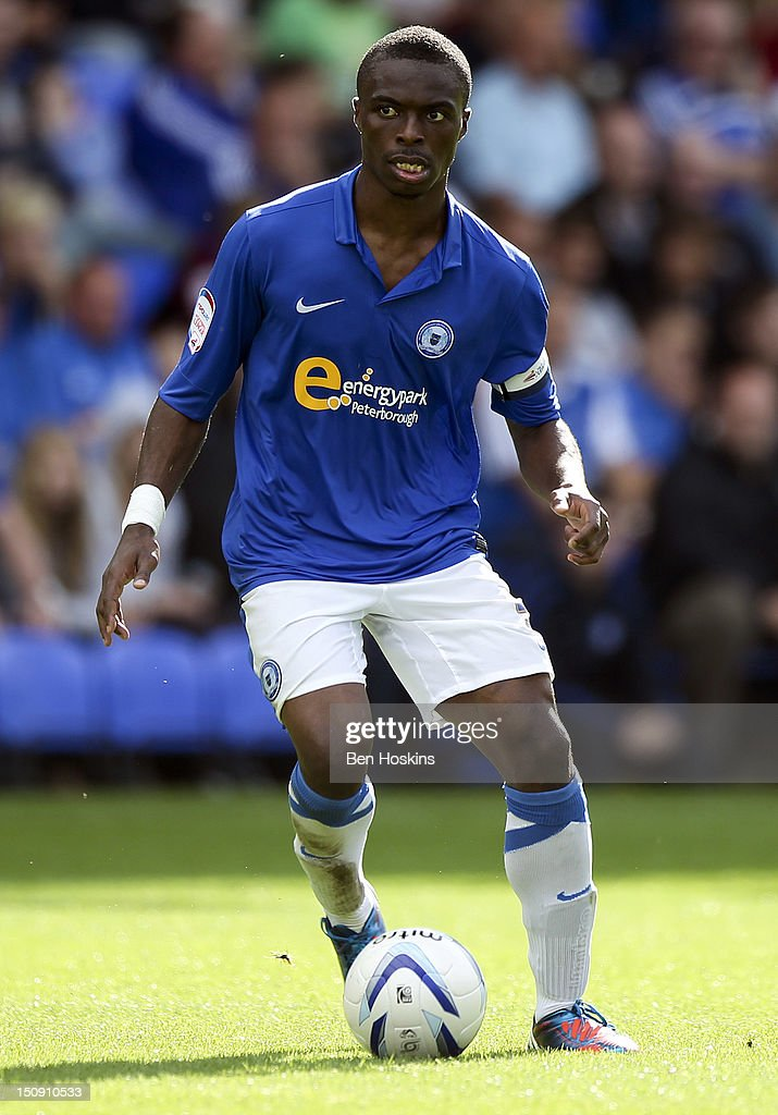 <a gi-track='captionPersonalityLinkClicked' href=/galleries/search?phrase=Gabriel+Zakuani&family=editorial&specificpeople=639100 ng-click='$event.stopPropagation()'>Gabriel Zakuani</a> of Peterborough in action during the npower Championship match between Peterborough United and Leeds United at The London Road Stadium on August 25, 2012 in Peterborough, England.