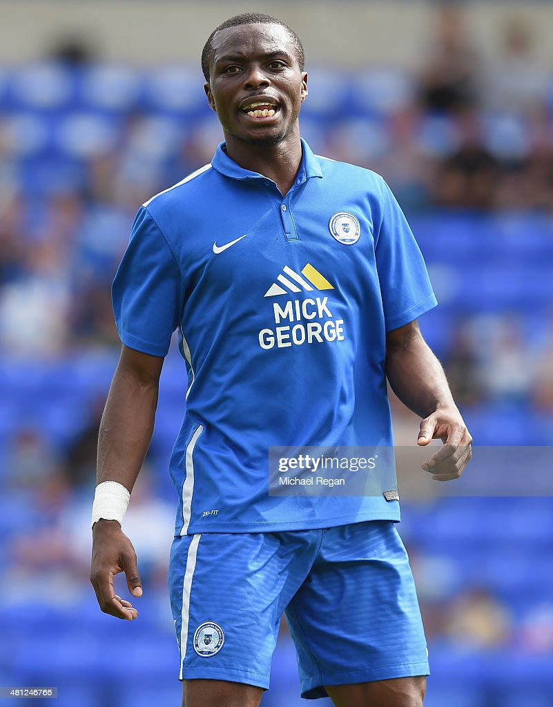 <a gi-track='captionPersonalityLinkClicked' href=/galleries/search?phrase=Gabriel+Zakuani&family=editorial&specificpeople=639100 ng-click='$event.stopPropagation()'>Gabriel Zakuani</a> of Peterborough in action during the pre season friendly match between Peterborough United and a Tottenham Hotspur XI at London Road Stadium on July 18, 2015 in Peterborough, England.