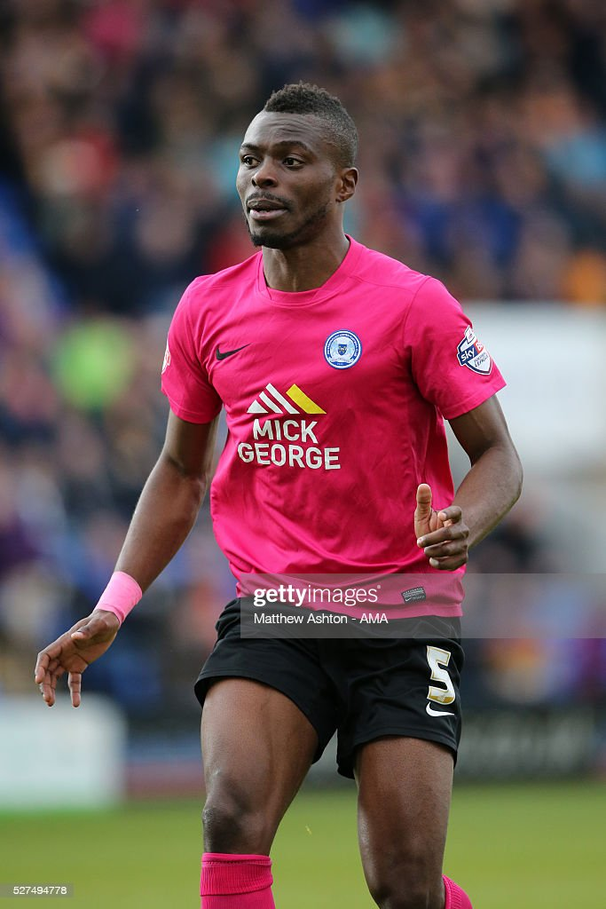 <a gi-track='captionPersonalityLinkClicked' href=/galleries/search?phrase=Gabriel+Zakuani&family=editorial&specificpeople=639100 ng-click='$event.stopPropagation()'>Gabriel Zakuani</a> of Peterborough United during the Sky Bet Football League One match between Shrewsbury Town and Peterborough United at Greenhous Meadow Meadow on April 30, 2016 in Shrewsbury, England.