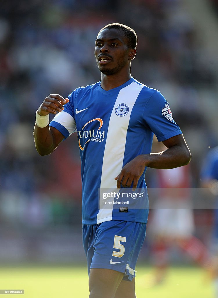 <a gi-track='captionPersonalityLinkClicked' href=/galleries/search?phrase=Gabriel+Zakuani&family=editorial&specificpeople=639100 ng-click='$event.stopPropagation()'>Gabriel Zakuani</a> of Peterborough United during the Sky Bet League One match between Rotherham United and Peterborough United at The New York Stadium on September 28, 2013 in Rotherham, England.