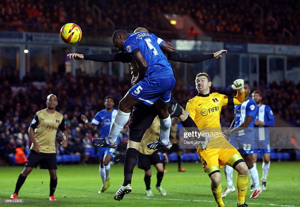 <a gi-track='captionPersonalityLinkClicked' href=/galleries/search?phrase=Gabriel+Zakuani&family=editorial&specificpeople=639100 ng-click='$event.stopPropagation()'>Gabriel Zakuani</a> of Peterborough United heads for goal during the Sky Bet League One match between Peterborough United and Leyton Orient at London Road Stadium on November 02, 2013 in Peterborough, England.