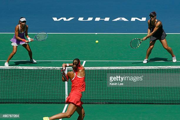 Gabriela Dabrowski of Canada and Alicja Rosolska of Poland in action against Andrea Hlavackova of Czech Republic and Lucie Hradecka of Czech Republic...