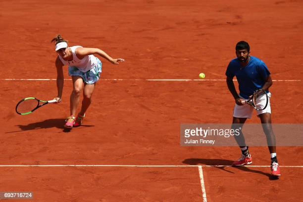 Gabriela Dabrowski of Canada and Rohan Bopanna of India in action during mixed doubles final match against AnnaLena Groenefeld of Germany and Robert...
