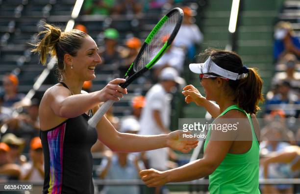 Gabriela Dabrowski of Canada and Yifan Xu of Canada celebrate match point after defeating Sania Mirza of India and Barbora Strycova of the Czech...