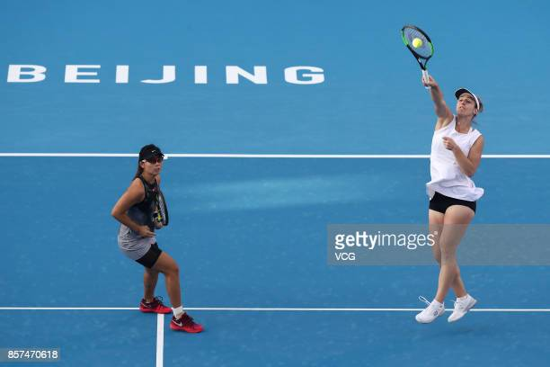 Gabriela Dabrowski of Canada and Yifan Xu of China compete during Women's doubles second round match against Raluca Olaru of Romania and Lyudmyla...