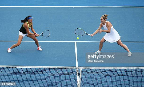 Gabriela Dabrowski of Canada plays a forehand along with Zhaoxuan Yang of China in their Women's Doubles Final match against Raluca Olaru of Romania...