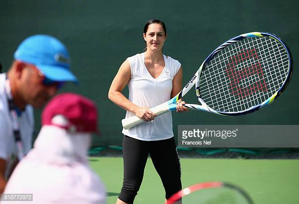 Gabriela Dabrowski of Canada takes part in a special needs coaching clinic during day three of the WTA Dubai Duty Free Tennis Championship at the...