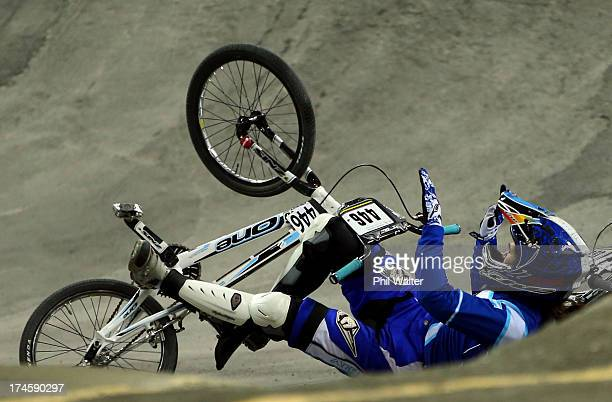 Gabriela Diaz or Argentina crashes out of the Womens Elite Final during day five of the UCI BMX World Championships at Vector Arena on July 28 2013...