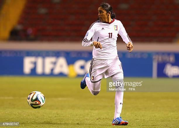 Gabriela Garcia of Venezuela runs with the ball during the FIFA U17 Women's World Cup 2014 group A match between Venezuela and Zambia at Estadio...