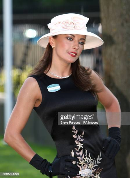 Gabriela Irimia from the Cheeky Girls shows off her fashion choices during day one at Ascot Racecourse Berkshire