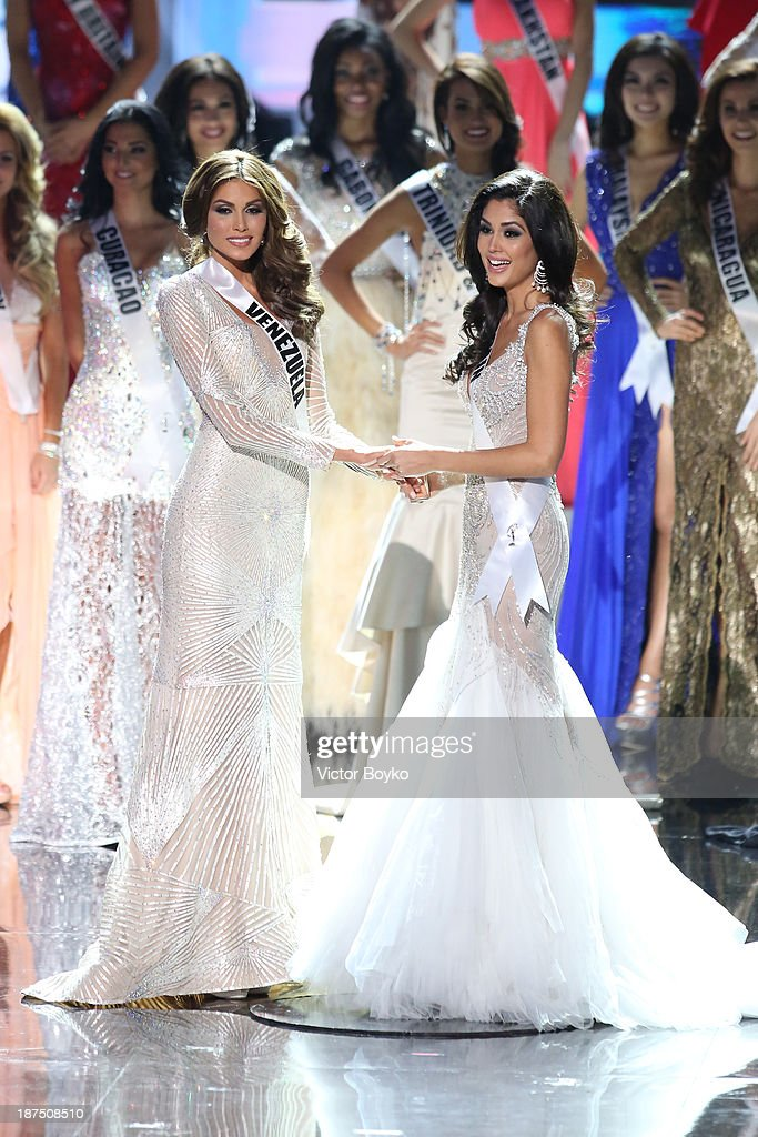 Gabriela Isler and Patricia Yurena Rodriguez await the judges' decision during the Miss Universe Pageant Competition 2013 on November 9, 2013 in Moscow, Russia.