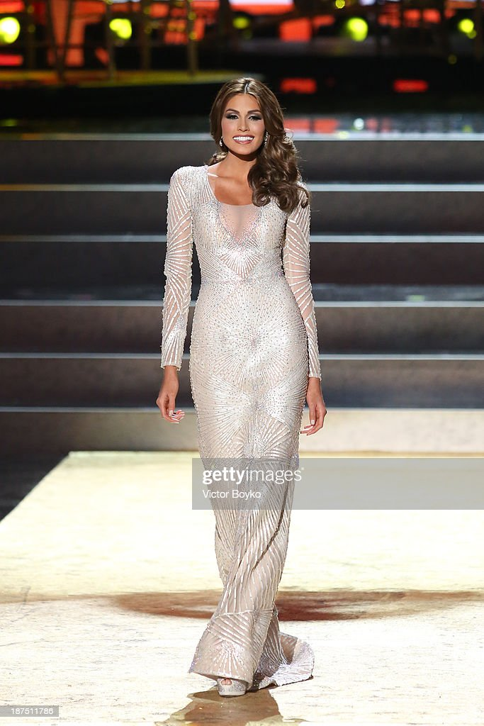 Gabriela Isler of Venezuela walks the stage during the Miss Universe Pageant Competition 2013 on November 9, 2013 in Moscow, Russia.