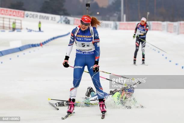 Gabriela Koukalova of Czech Republic competes in the Women's 4x6km relay during the BMW IBU World Cup Biathlon 2017 test event for PyeongChang 2018...