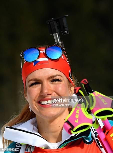 Gabriela Koukalova of Czech Republic reacts after the Women's 10 km pursuit race during the 2017 IBU World Championships Biathlon in Hochfilzen on...