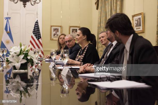 Gabriela Michetti Argentina's vice president center speaks during a meeting with US Vice President Mike Pence at the Presidential Palace in Buenos...
