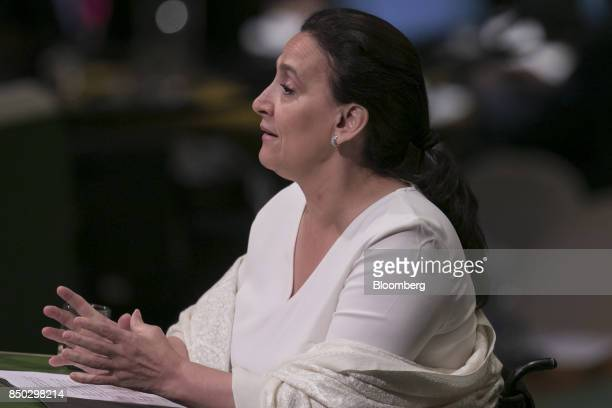 Gabriela Michetti Argentina's vice president speaks during the UN General Assembly meeting in New York US on Wednesday Sept 20 2017 Argentina wants...