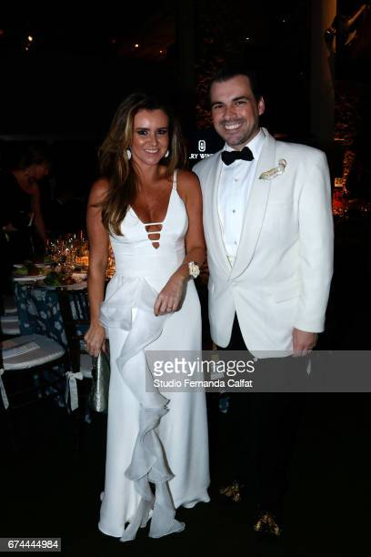 Gabriela Moreno and Sandro Barros attend the 7th Annual amfAR Inspiration Gala on April 27 2017 in Sao Paulo Brazil