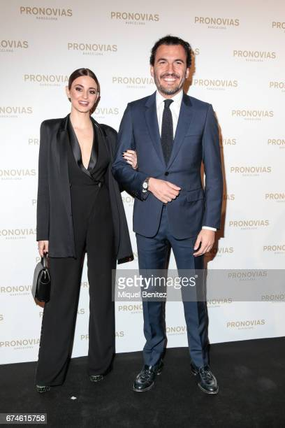 Gabriela Palatchi Gallardo and Ediz Elhadef attend the Pronovias Show during Barcelona Bridal Fashion Week 2017 held at the Museu Nacional d'Art de...