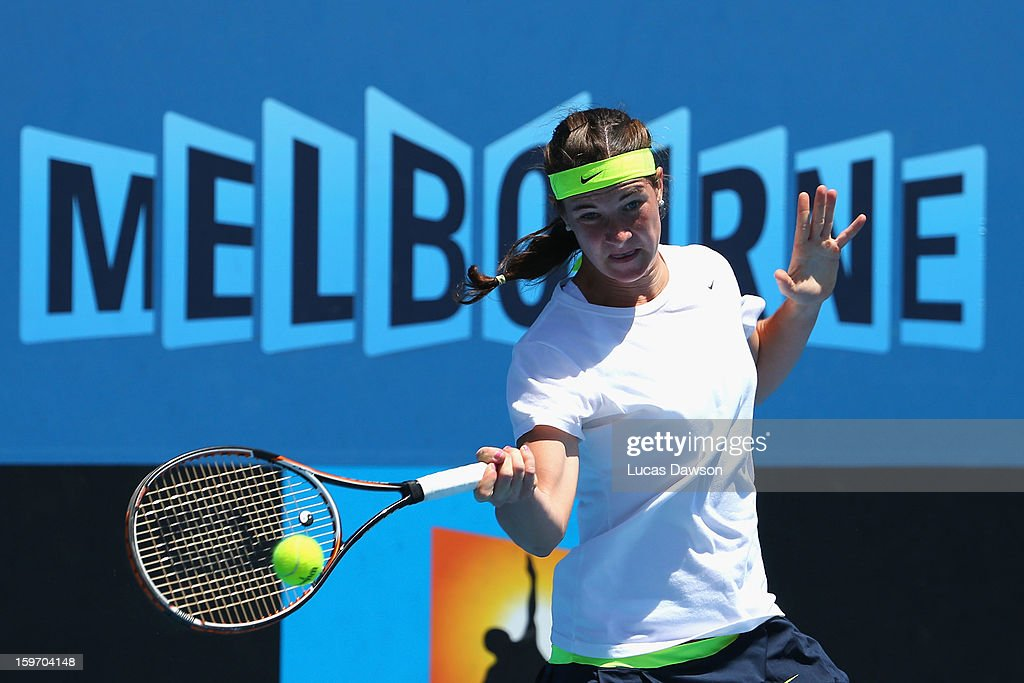 Gabriela Pantuckova of the Czech Republic plays a forehand in her first round match against Sara Tomic of Australia during the 2013 Australian Open Junior Championships at Melbourne Park on January 19, 2013 in Melbourne, Australia.