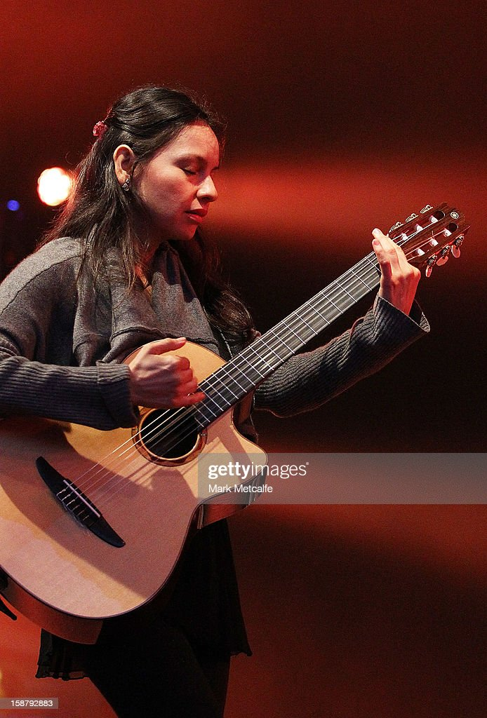 Gabriela Quintero of Rodrigo Y Gabriela performs live on stage at The Falls Music and Arts Festival on December 29, 2012 in Lorne, Australia.