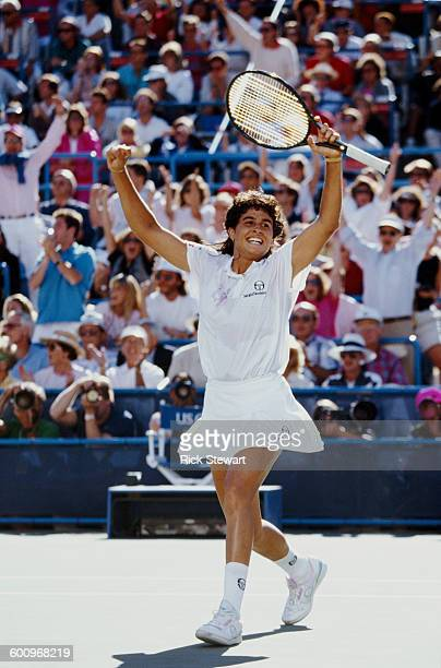 Gabriela Sabatini of Argentina celebrates winning the Women's Singles Final against Steffi Graf at the US Open Tennis Championship on 8 September...